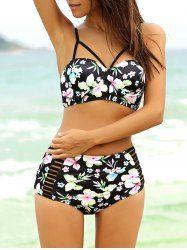 Sexy High Waisted Strappy Bikini Set For Women (BLACK,4XL) | Sammydress.com Mobile