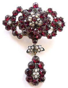 Antique Victorian Garnet & Pearl Dropper Flower Floral Brooch