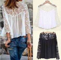 0177b3f9346 2014 Summer Lady Women Fashion Casual Lace Shirts Chiffon Blouses T Shirt  Tops Hotsale Short Shirts