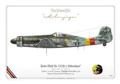 """Focke-Wulf Ta 152H-1 Höhenjäger"""" High-Altitude Fighter'Gelbe 1' vom II. Gruppe /Jagdgeschwader 301Alteno/Deutschland, Februar 1945.   my painting"""