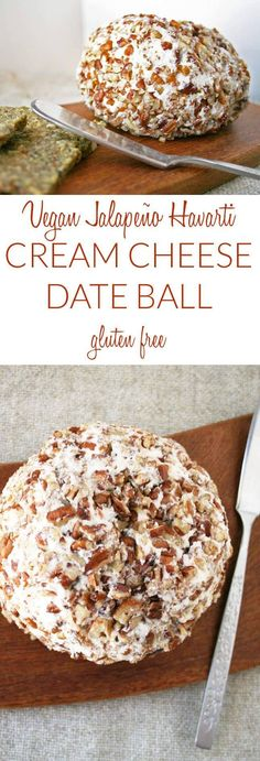 Vegan Jalapeño Havarti Cream Cheese Date Ball (gluten free) - This creamy vegan cheese ball is sweet and slightly spicy. It is perfect for a party.