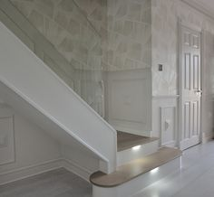 An ultra-modern staircase in light oak with LED lights installed under the treads to subtly illuminate the staircase. New Staircase, Modern Staircase, Bespoke Staircases, Customer Stories, Light Oak, Led, Stairs, Houses, Lights