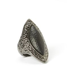 Another great find on #zulily! Dark Silver & Black Hammered Marquise Stretch Ring by KC Signatures #zulilyfinds