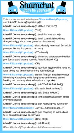 A conversation between Alfred F. Jones ((cupcake rp)) and Oliver Kirkland (Cupcakes)