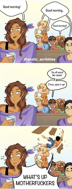 Heroes of olympus comic mornings piper mclean jason grace annabeth chase leo valdez hazel levesque frank zhang and percy jackson the heroes of olympus by burdge on deviantart Percy Jackson Comics, Percy Jackson Cosplay, Percy Jackson Fandom, Percy Jackson Film, Memes Percy Jackson, Percy Jackson Characters, Percy Jackson Fan Art Funny, Percy Jackson Wallpaper, Percy Jackson Annabeth Chase