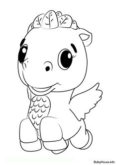 Cloud Ponette from Hatchimals Coloring Pages - Free Printable Coloring Pages Penguin Coloring Pages, Monster Coloring Pages, Dinosaur Coloring Pages, Coloring Pages To Print, Free Printable Coloring Pages, Coloring For Kids, Coloring Pages For Kids, Coloring Sheets, Coloring Rocks