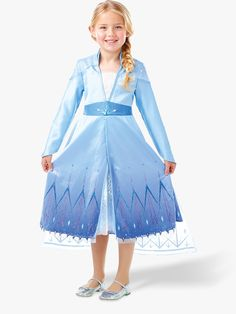 Feel the power to freeze oceans or create frozen slides! This Elsa gown comes with a glittery cape, a layered skirt with sparkling hem detail and gems dotted all about! It even has embroidered snowflakes that set off the belt about the waist! Frozen Queen, Frozen Princess, Queen Elsa, Frozen 2 Elsa Dress, Disney Frozen Elsa, Costume Shop, Costume Dress, Disney Dresses, Girls Dresses