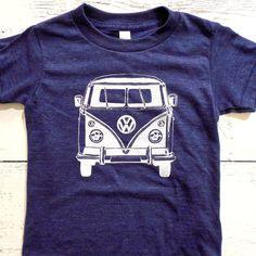 Cool Volkswagen toddler tshirt. american apparel kids shirt. VW. VW van. Hand drawn.