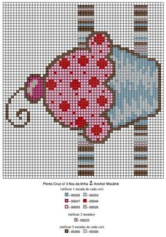 jogo-americano-cupcake-grafico-4 Fuse Bead Patterns, Embroidery Patterns, Cross Stitch Patterns, Cupcake Cross Stitch, Butterfly Cross Stitch, Cross Stitching, Cross Stitch Embroidery, Hand Embroidery, Stitch Cartoon