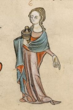 Detail from The Luttrell Psalter, British Library Add MS 42130 (medieval… Medieval Manuscript, Medieval Art, Illuminated Manuscript, Medieval Times, Noli Me Tangere, Statues, Marie Madeleine, Renaissance Kunst, Medieval Paintings