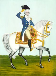 George Washington on a White Charger by 19th Century American Artist (Unknown) | Art Posters