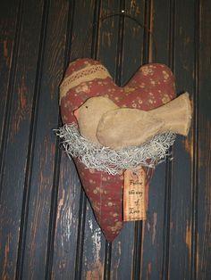 Primitive Valentine Heart Wall Hanging Dove Bird by gardenshopgirl etsy shop