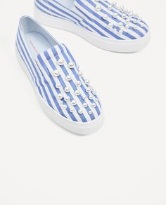 Image 4 of STRIPED PLIMSOLLS WITH PEARLS DETAIL from Zara