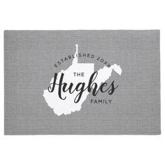 West Virginia Family Monogram State Doormat - monogram gifts unique design style monogrammed diy cyo customize