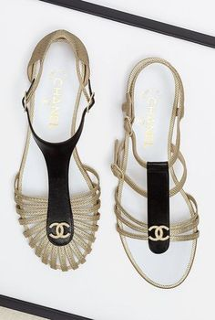 Chanel sandals - 2014 soooo husband just checked on these to surprise me for my . Sandals 2014, Shoes Sandals, Flat Sandals, Shoes 2015, Gold Sandals, Summer Sandals, Strap Sandals, Cute Shoes, Me Too Shoes
