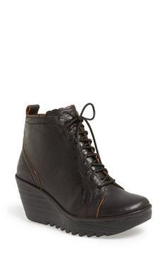 Fly London 'Yole' Lace Up Military Wedge Bootie (Women)