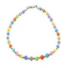 Womens Multi Color Cat Eye (Fiber Optic) and Sterling Ladies Beaded Gemstone Anklet w/ Daisies * See this awesome jewelry @ http://www.amazon.com/gp/product/B00A9UVWT4/?tag=finejewelry4u.com-20&pwx=070716151431