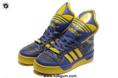 Adidas X Jeremy Scott Big Tongue Shoes Purple Yellow Shoes Store