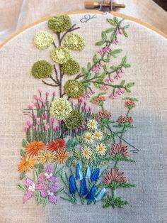 Bellflowers - blanket stitch and stem stitch