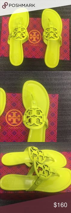 NWB Tory Burch Miller logo flip flop, flu yellow A comfortable staple for sunny days and warm getaways, our signature Miller Sandal — in rich leather with a graphic laser-cut double-T logo — goes with just about anything in your wardrobe. A chic alternative to the basic flip-flop, it's effortlessly polished. Features Leather Rubber sole Leather Rubber sole Leather Upper Tory Burch Logo detail Product information Product Dimensions12 x 4 x 4 inches Item Weight1.5 pounds Tory Burch Shoes…