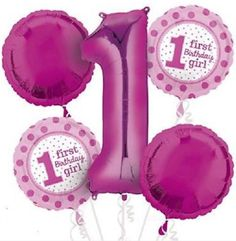 Girls1st Birthday Anagram Balloons Mylar Bouquet Packaged Quantity1 Package