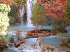 Havasu Falls,  the campground is about a quarter mile farther down the trail.   Almost Surreal.