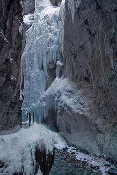 Frozen Waterfall with icicles at Partnachklamm, Garmisch Partenkirchen, Germany.