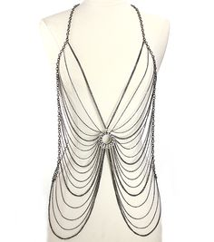 Long, Body Chains, Metal, Theme, Multi Layered, Drape in/with Clear Hematite NB1003CLEHM