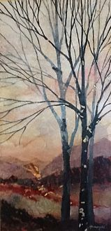 Winter morning. Mixed media. Mixed Media, Boat, Paintings, Watercolor, Portrait, Winter, Pen And Wash, Winter Time, Dinghy