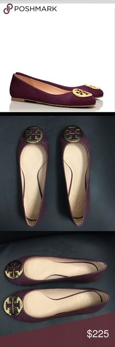 Tory Buch Syrahi Shiraz Serena 2 Ballet Tory Buch Syrahi Shiraz Serena 2 Ballet.  NIB Tory Burch Serena 2 Ballet Flat  Color: Syrah, Shiraz and Gold (Karung Montilla Print) - Deep Wine Color  Material: Leather Upper, 100% Rubber Sole.  Suede point.  Great shoes for day or night. Tory Burch Shoes Flats & Loafers