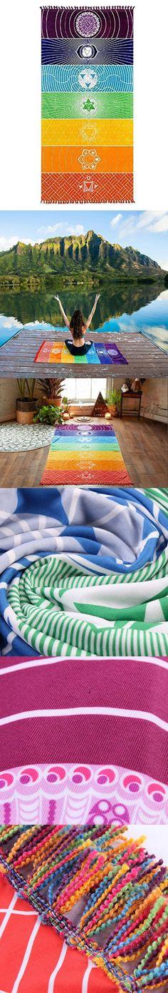 Nibesser Cotton Teos Fouta Pestemal Peshtemal Bath Towel Beach Yoga Towel with Tassels ,27 x 59 Inches,Rainbow Chakra