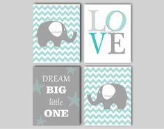 Baby Boy Elephant Nursery Art - Chevron Elephant Nursery Art - You Are My Sunshine - First We Had Each Other - Dream Big -8 x 10 Print Quad...