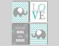Baby Boy Elephant Nursery Art -  Chevron Elephant Nursery Art - You Are My Sunshine - First We Had Each Other - Dream Big -8 x 10 Print Quad...