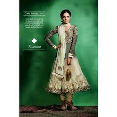 Gray & Cream Net Salwar Kameez