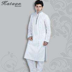 Plain White Cotton Kurta Pyjama Set