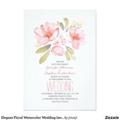 Elegant Floral Watercolor Wedding Invitations
