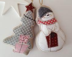 Baumschmuck: Stoff - Schneemann Weihnachtsbaum Landhaus Weihnachten - ein Designerstück von Feinerlei bei DaWanda