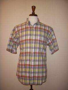 Pendleton Short Sleeve Cotton Plaid Button-down Casual Work Shirt