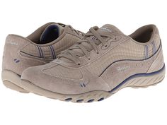 SKECHERS Relaxed Fit: Breathe - Easy - Just Relax Stone/Navy - 6pm.com