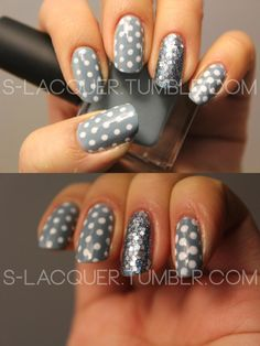 35 Ideas For Nails Grey Glitter Silver Polka Dots Love Nails, How To Do Nails, Fun Nails, Gray Nails, Grey Nail Designs, Cool Nail Designs, Nice Designs, Polka Dot Nails, Polka Dots