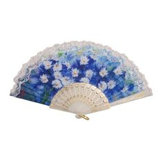 A Lot of Three White Blue Paper Lace Chinese Painting Bridal Wedding Hand Fans SKU-11213017