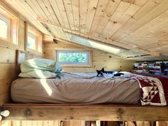 Sierra and her husband built their tiny house with one thing in mind. Tiny House Loft, Tiny House Swoon, Tiny House Design, Ideas Cabaña, Sauna House, A Frame House Plans, Attic Bedrooms, Attic Design, Sleeping Loft