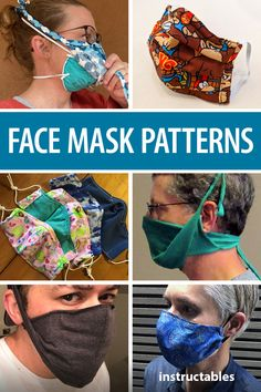 Here is a collection of face masks using a variety of materisl and including sewing or no sew. Diy Mask, Diy Face Mask, Face Masks, Diy Craft Projects, Craft Tutorials, Sewing Projects, Fabric Crafts, Sewing Crafts, Garage Workshop Plans