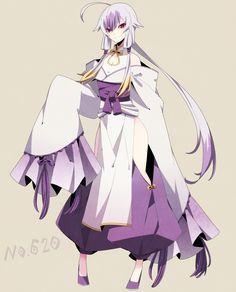 Mienshao Gijinka Cabello Largo Blanco Puntas Violetas Kimono Blanco y Violeta Moño Listones Pokemon Anime Ojos Violetas