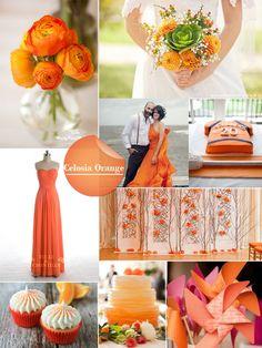 spring 2014 wedding color trend celosia orange orange bridesmaid dresses & centerpieces ideas