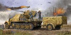 German SdKfz 7/2 Halftrack Late Variant w/3.7cm Flak 37 Gun  Stuks