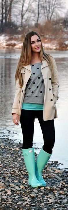 Cute Tiffany Blue Hunter with Grey Polka Dots Sweater
