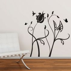 This imaginative giant wall decal by Studio Luka, looks like stems with flowers and leaves with butterflies and birds. You can place these vinyl stickers in the order you wish to get hopeful and energetic atmosphere.$94.95