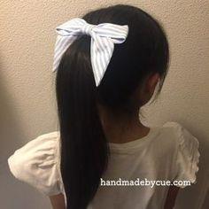 ポニーテールによく似合うリボンヘアゴムの作り方、簡単かわいい   ハンドメイドで楽しく子育て handmadeby.cue