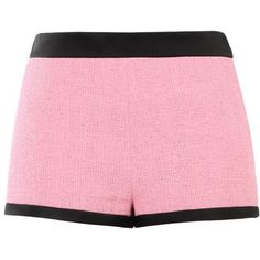 Moschino Shorts (€395) ❤ liked on Polyvore featuring shorts, pink, zipper shorts, moschino, pink tweed shorts, tweed shorts and print shorts
